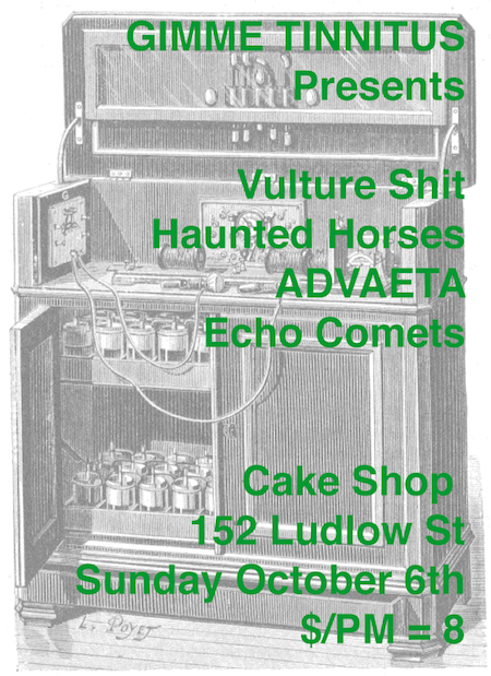 Vulture Shit + Haunted Horses + ADVAETA + Echo Comets 10/6/13 @ Cake Shop