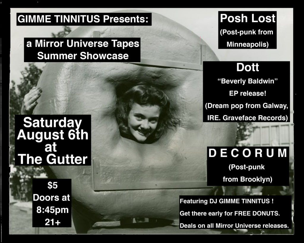 August 6th Flier for the Gutter Mirror Universe Summer Showcase
