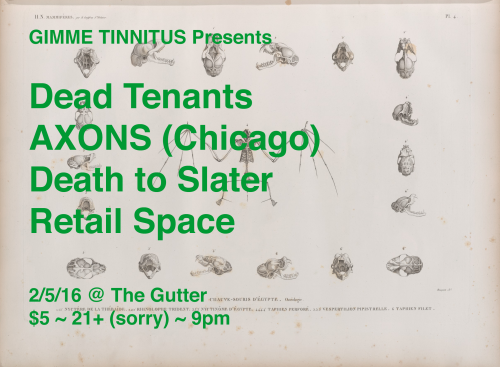 show :: 2/5/16 @ The Gutter > Dead Tenants + AXONS + Death to Slater + Retail Space