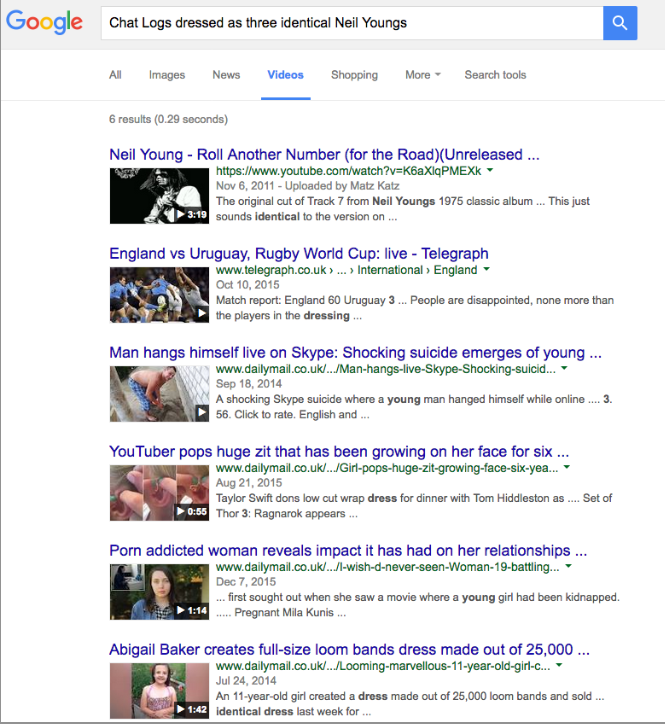 googling Chat Logs dressed as three identical Neil Youngs